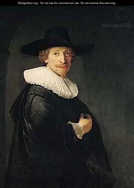 Portrait Of A Bearded Gentleman Standing In An Archway - (after) Harmenszoon Van Rijn Rembrandt