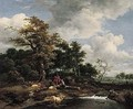 A Wooded Landscape With A Shepherd And Shepherdess Resting With Their Flock By A River - Jacob Van Ruisdael