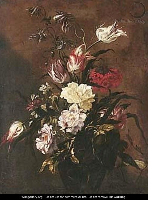 Still Life Of Roses, Variegated Tulips, And Other Flowers, In A Glass Vase - dei Fiori (Nuzzi) Mario