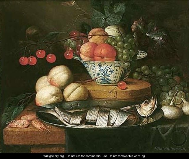 Still Life Of Fruits In A Blue And White Bowl, Together With Peaches, Grapes, Prawns, Onions And Herring On A Pewter Dish On A Table Partly Draped With A Blue Cloth - Jan Pauwel Gillemans The Elder