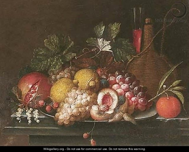 Still Life Of Peaches, Lemons, Grapes, Strawberries And Nuts Upon A Pewter Dish, Together With A Pomegranate, An Orange, A Casket Of Wine And A Wine Glass, Upon A Stone Ledge - Jan Pauwel Gillemans The Elder