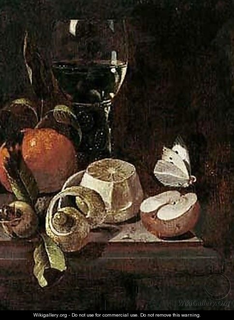Still Life Of A Roemer, An Orange, Lemon, A Medlar, An Apple And A Cabbage White Butterfly, Upon A Stone Ledge - Marten Nellius
