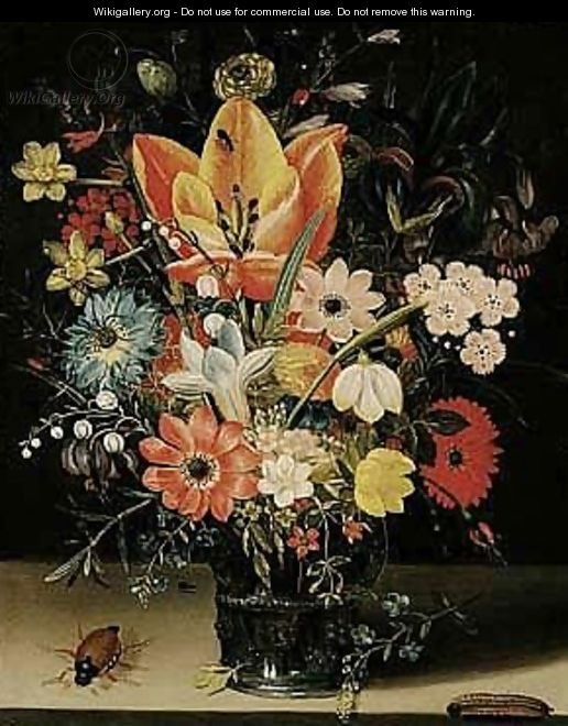 Still life of tulips, carnations, daisies, irises, narcissi, lily of the valley and other flowers in a glass vase - (after) Peter Paul Binoit