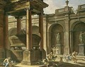 An architectural capriccio with king solomon sacrificing to the idols amongst classical ruins - Bolognese School