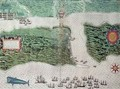 Map depicting the destruction of the Spanish colony of St. Augustine in Florida on 7th July 1586 by the English fleet commanded by Sir Francis Drake (1540-96) - Baptista Boazio