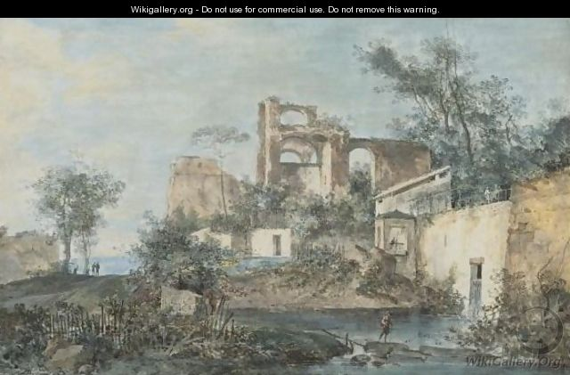 An Italianate Landscape With Ruins, A Traveller By A Pool Of Water In The Foreground - (after) Louis-Gabriel Moreau (Moreau L