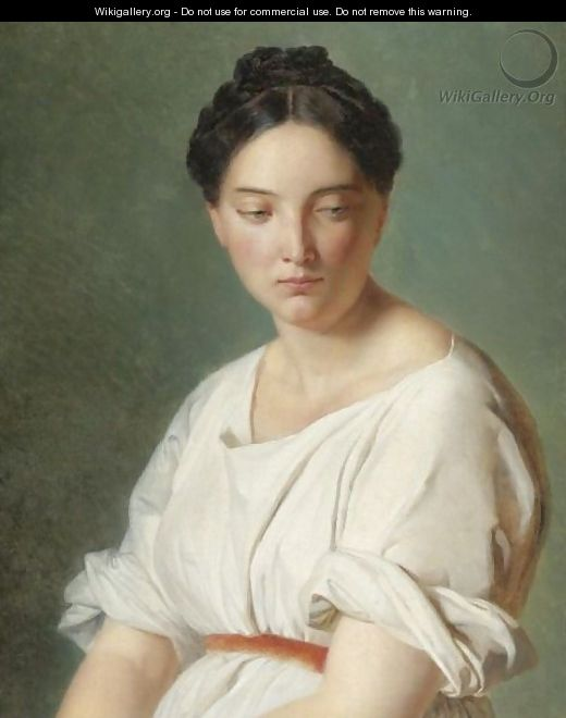 Portrait Of A Lady In A White Dress - French School