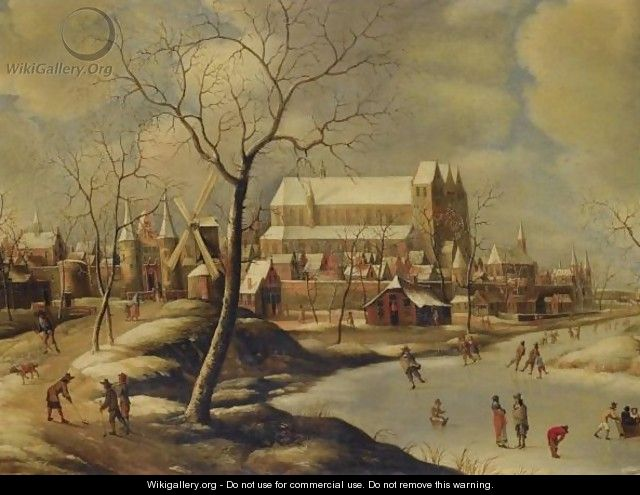 Winter Cityscape With Ice-Skaters And Golfers - (after) Jan Abrahamsz. Beerstraten