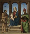 The Madonna And Child Enthroned With Saints Onophrius And Augustine - Piero Di Cosimo