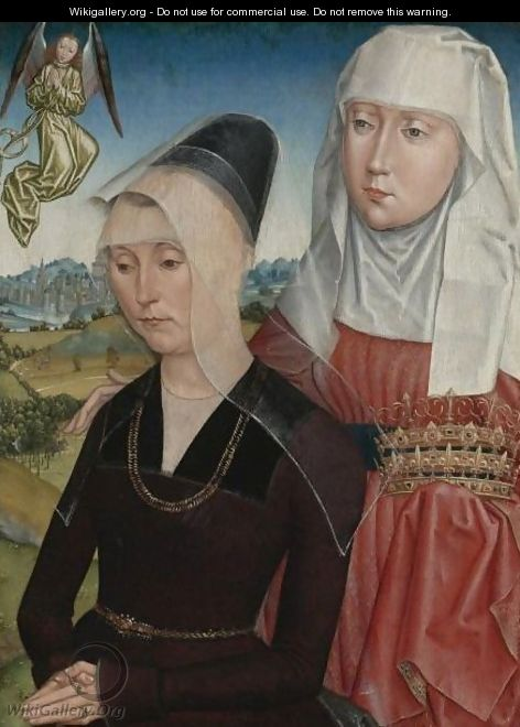 Female Donor With Saint Elizabeth Of Hungary The Right Wing Of A Triptych - (after) Simon Marmion