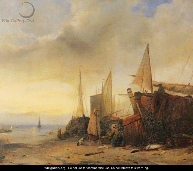 Ships At Low Tide - Jacobus Jacobs