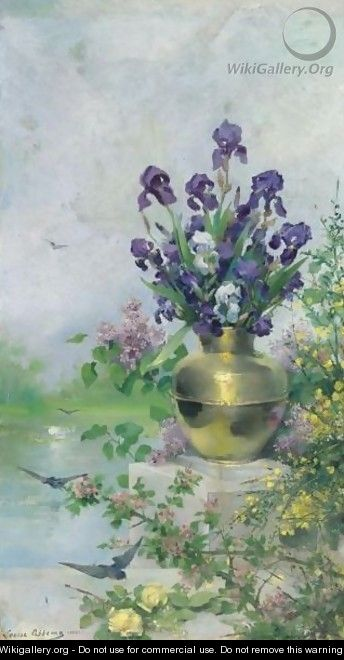 A Vase Of Irises On The Terrace - Louise Abbema