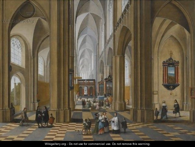 The Interior Of A Gothic Cathedral With Elegant Figures Strolling And Others Attending A Mass - Pieter Neefs The Elder, Frans The Younger Francken