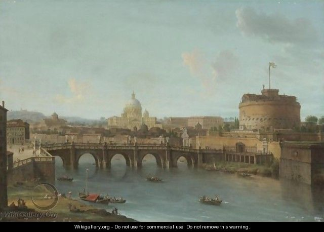 Rome, A View Of The Tiber With The Ponte And Castel Sant