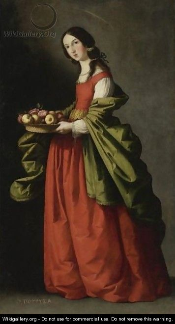 Saint Dorothy, Full-Length, Holding A Basket Of Apples And Roses - Francisco De Zurbaran