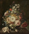 A Still Life Of Roses, A Tulip, Hyacinths, Morning Glories And Other Flowers In A Vase, Resting On A Stone Ledge - Rachel Ruysch