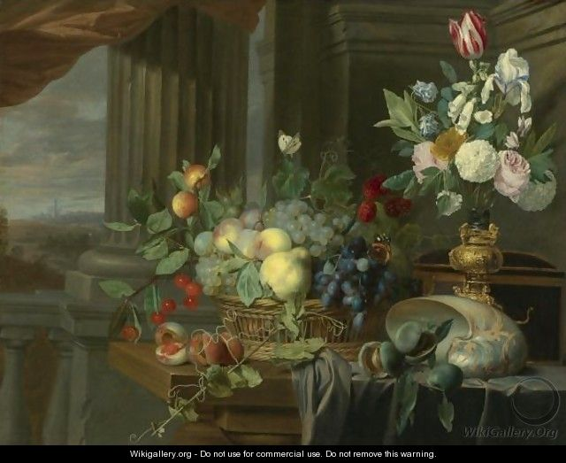Still Life Of A Basket Of Fruit, Flowers In A Gilt Vase, A Nautilus Shell And Other Objects On A Draped Table Near An Open Window - Carstian Luyckx