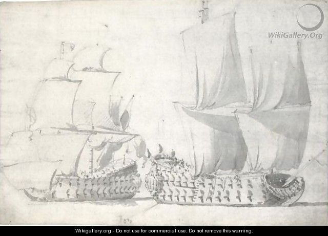 Two English Two-Deckers - Willem van de, the Elder Velde