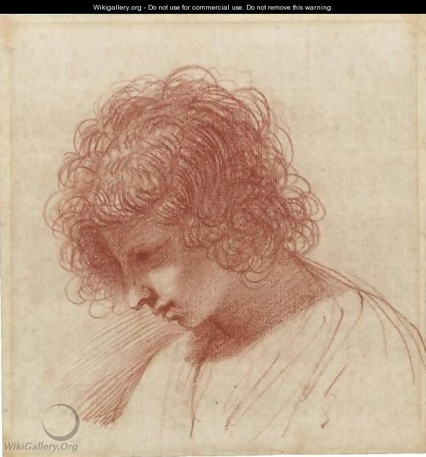 Head Of A Young Man In Profile, Looking Down To The Left - Giovanni Francesco Guercino (BARBIERI)