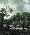 A Torrent In A Scandinavian Wooded Landscape With A Peasant Crossing A Wooden Bridge And Cottages On The Far Bank Of The River - Jacob Van Ruisdael