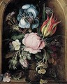 A Still Life Of An Iris, A Tulip, A Rose, Moss-roses And Other Flowers And Plants In A Glass Vase, Flanked By A Lizard And A Dragonfly, All Within A Stone Niche - Roelandt Jacobsz Savery