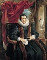 Portrait Of Magdalena De Cuyper, Seated Three-quarter Length In Black, With White Lace Cuffs And Ruff, And A Fur-trimmed Coat, Before An Opening Partly Concealed By A Draped Red Cloth - Jacob Jordaens