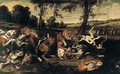 A River Landscape With Hounds Attacking Wolves, Huntsmen Emerging From A Wood Beyond - Frans Snyders