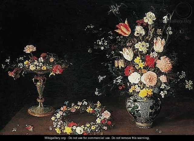 A Still Life Of Flowers In A Tazza, A Garland Of Flowers On A Table, And Roses, Tulips, Irises And Other Spring And Summer Flowers In A Wan-li Porcelain Vase, All On A Ledge - Jan, the Younger Brueghel
