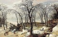 A winter landscape with an overturned horse-drawn cart, and figures driving a herd of pigs down a track - Joos De Momper
