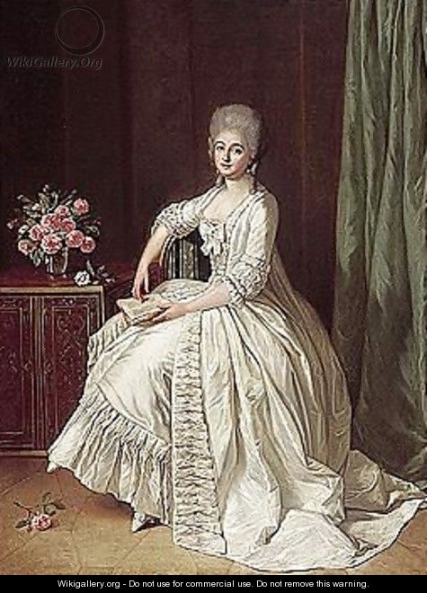 Portrait Of A Lady, Full Length, Seated Beside A Cabinet With A Vase Of Roses On Top, Holding A Book - Guillaume Martin