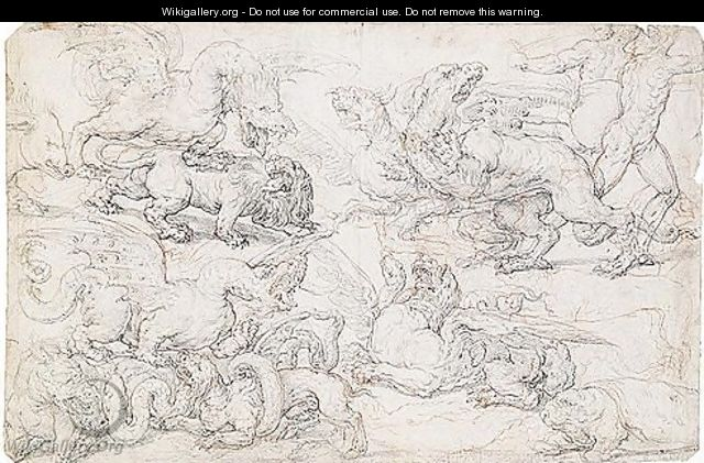 A sheet of studies of fantastical animals fighting, with two running figures to the right - Florentine School