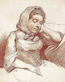 Study Of A Woman Resting Her Head On Her Hand - Pierre-Alexandre Wille