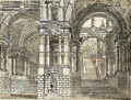 A Colonnaded Interior With Twin Stairs And Many Arches - (after) Giuseppe Galli Bibiena