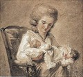 A Mother With A Baby In Her Arms And A Young Child - Francois-Andre Vincent