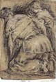 Two Kneeling Female Figures, Seen From Behind - Francesco Da Ponte (Francesco Bassano Il Giovane)