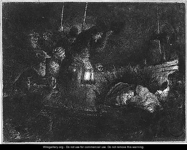 The adoration of the shepherds, a night piece - Rembrandt Van Rijn