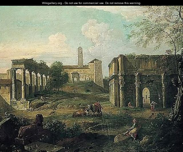 Rome, a capriccio of the forum with soldiers and drovers resting among classical ruins - (after) Giovanni Paolo Panini