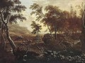 A Wooded Landscape With A Hunting Party At The Edge Of A River - Frederick De Moucheron