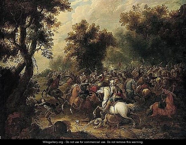 A Cavalry Engagement At The Edge Of A Wood - Pieter Meulener