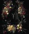 Still Life Of Garlands Of Fruit Encircling A Stone Niche, Within Which Stands A Crucifix - Jan Pauwel Gillemans The Elder