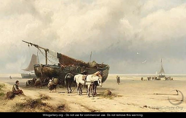 Fisherfolk By A Beached - Johannes Hermann Barend Koekkoek