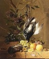 A Still Life Of Fruit, Flowers And Birds - Hendrik Reekers