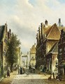 A Busy Street In A Dutch Town - Johannes Franciscus Spohler