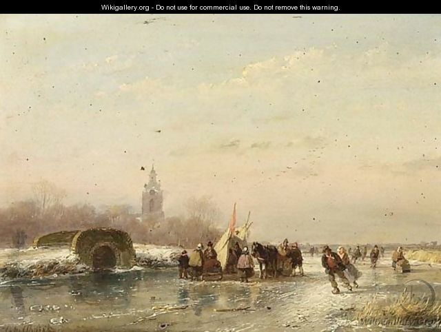 A Frozen Waterway With Skaters And A
