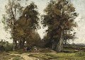 A Cowherd And Her Cattle On A Sandy Track - Theophile De Bock