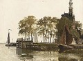 Moored Boats Near The Hoofdtoren, Hoorn - Johannes Christiaan Karel Klinkenberg
