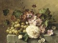 A Still Life With Flowers And Grapes On A Ledge - Margaretha Roosenboom