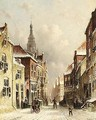 A Snowy Street With A Church In The Background - Pieter Gerard Vertin