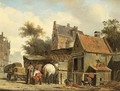 A Street Scene With A Blacksmith At Work - Cornelis Springer