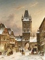 A Townscene In Winter - Charles Henri Leickert